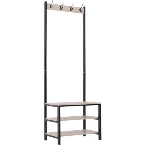 HOMCOM Steel Frame Coat Rack Freestanding w/ 4 Hooks 3 Shelves Organisation