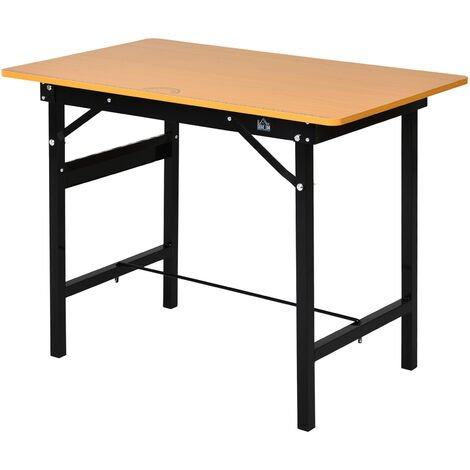 HOMCOM Steel Frame Folding Work Bench Home Craft Garage Table w/ Ruler Protractor