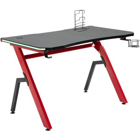HOMCOM Steel Frame Gaming Racing Desk Table w/ LED Lights Cup Holder Controller Rack
