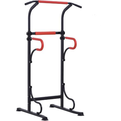 HOMCOM Steel Frame Multi-Use Exercise Power Tower Station Adjustable w/ Grips
