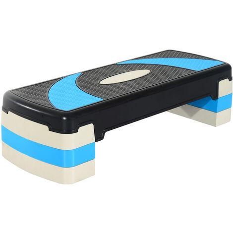 HOMCOM Step de Aer/óbic para Fitness Tabla Plataforma Stepper Deporte Gimnasia Altura Regulable 3 Niveles Carga 150kg