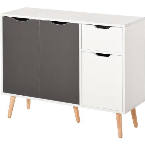 HOMCOM Storage Cabinet Floor Standing Sideboard with Drawer Kitchen Grey