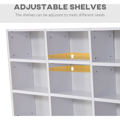HOMCOM Storage Shelf CD Bookcase Shelf Unit Organiser Home Furniture White