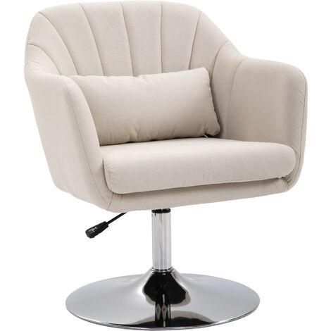 HOMCOM Stylish Retro Linen Swivel Tub Chair Steel Frame Cushion Wide Seat Cream
