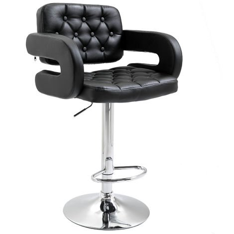 """main image of """"Homcom Swivel Barstool with Arm Rest with Gas Lift Height Adjustable Kitchen"""""""