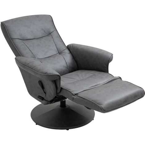 "main image of ""HOMCOM Swivel Recliner Chair Armchair Sofa with Footrest Padded Armrest 4-level Adjustable Backrest, Microfiber, Dark Grey"""