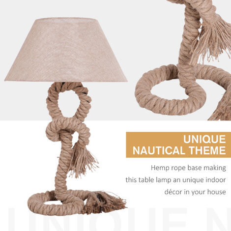 HOMCOM Table Lamp Indispensable Nautical Twisted Rope E27 Base Bedside Light - Beige