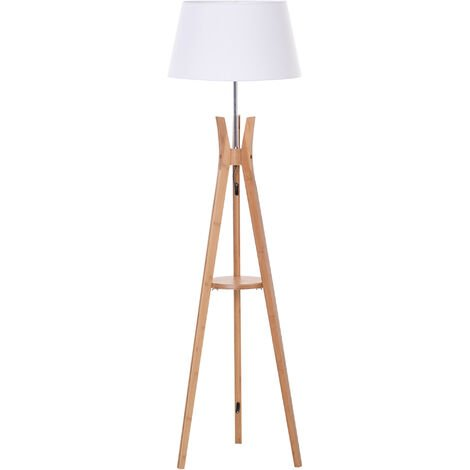 HOMCOM Tall Bamboo Tripod Floor Lamp Tripod Base w/ Pedal Switch Middle Shelf White