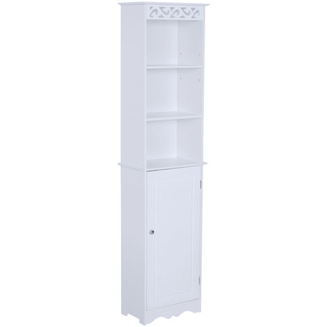 HOMCOM Tall Bathroom Cabinet Narrow Storage Unit Cupboard w/ Adjustable Shelves White