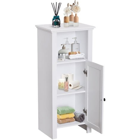 Homcom tall bathroom storage cabinet organiser unit - White tall bathroom storage unit ...