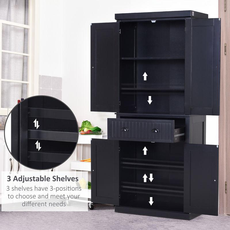 Homcom Tall Kitchen Storage Cabinet, Tall Kitchen Pantry Cabinet Furniture