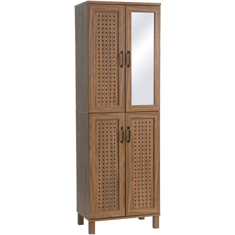 HOMCOM Tall Storage Cabinet 10 Shelves w/ 4 Doors Mirror Air Holes Legs Brown