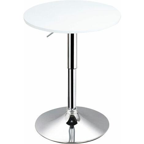 """main image of """"HOMCOM Tavolino da Bar Rotondo con Altezza Regolabile in Metallo e MDF Φ60x69-93cm Bianco"""""""