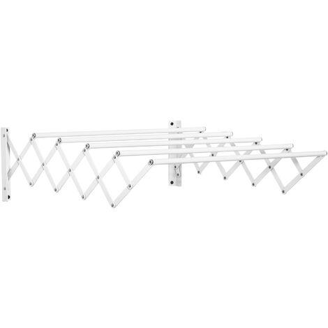 """main image of """"HOMCOM Tendedero de Pared Extensible Tendedero de Ropa Metal con 5 Barras Ahorra Espacio para Interior y Exterior Baño Balcón Carga 10 kg 63,5x60x20cm Blanco - Blanco"""""""