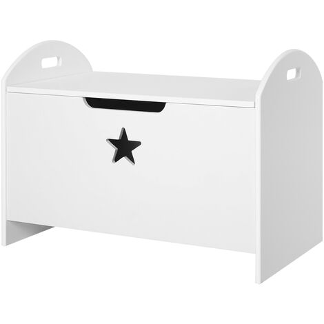 HOMCOM Toy Box Storage Organiser w/ Safety Hinge Side Handle Star 62Lx46.5cm White