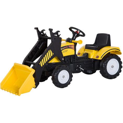 HOMCOM Tractor Pedal Excavadora Camión + Pala Delantera para Niños 3-6 Años Carga 35kg