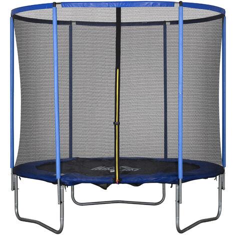 HOMCOM® Trampolin mit Sicherheitsnetz Gartentrampolin Stahl Ø244 x 240H cm