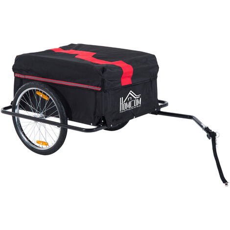 HOMCOM Transportanhänger für Fahrräder   Universalanhänger   Lastenanhänger   140 x 88 x 60cm   Rot und Schwarz