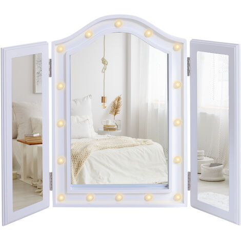 HOMCOM Tri-Fold LED Light Mirror Vanity Cosmetic Bedroom Make-Up White