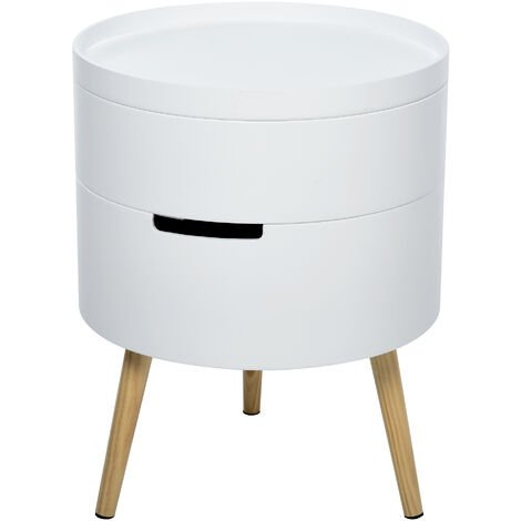 HOMCOM Two-Tier Storage Side Coffee Table Bedside Night Stand Rotating White