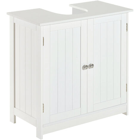 Homcom Under Sink Bathroom Storage Cabinet 2 Layers Vanity Unit Wooden White