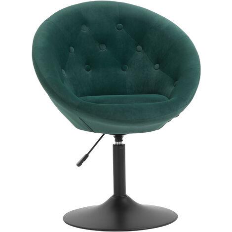 HOMCOM Velvet-feel Dining Chair Retro Tub Height Bar Stool Adjustable Height Green