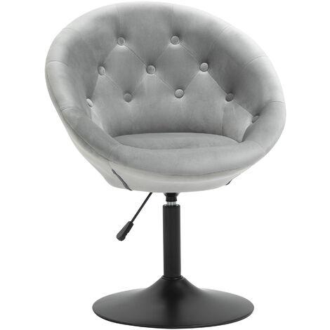 "main image of ""HOMCOM Velvet-feel Dining Chair Retro Tub Height Bar Stool Adjustable Height Grey"""
