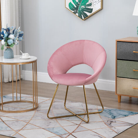 """main image of """"HOMCOM Velvet-Feel Modern Rounded Accent Chair w/ Gold-Tone Metal Legs Pink"""""""