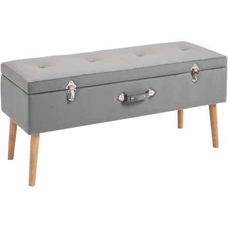 "main image of ""HOMCOM Velvet-Feel Ottoman Storage Bench Seat w/ Wood Legs Padded Top Grey"""