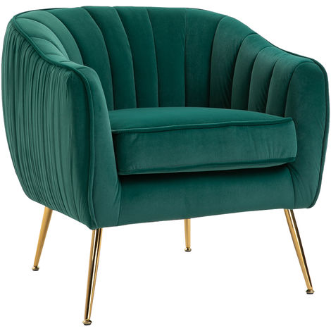 HOMCOM Velvet-Look Shell Chair w/ Metal Legs Adjustable Feet Top Cushion Green