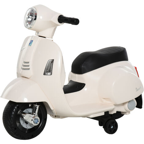 HOMCOM Vespa Licensed Kids Ride-On Motorcycle 6V Battery 18-36 Months White