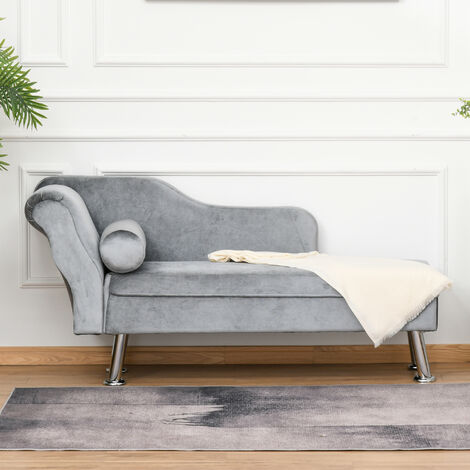 """main image of """"HOMCOM Vintage Style Sofa Chaise Longue Designer Retro Lounge Day Bed With Bolster Cushion Grey"""""""