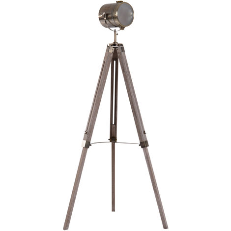 HOMCOM Vintage Tripod Floor Lamp Spotlight Height Adjustable Copper Finish Pine Legs