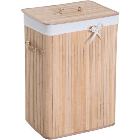 HOMCOM® Wäschekorb Wäschebox 72L Bambus Eckig natur