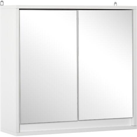 HOMCOM Wall-Mounted Bathroom Storage Cabinet w/ Mirror Shelf Cupboard White