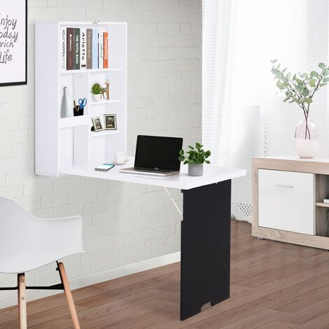 HOMCOM Wall Mounted Shelf & Desk Chalkboard Space Saving Office Study White
