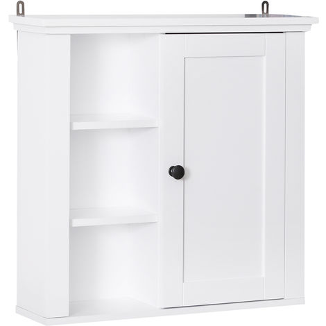 HOMCOM Wall Mounted Storage Cabinet Home Organiser Kitchen Pantry White