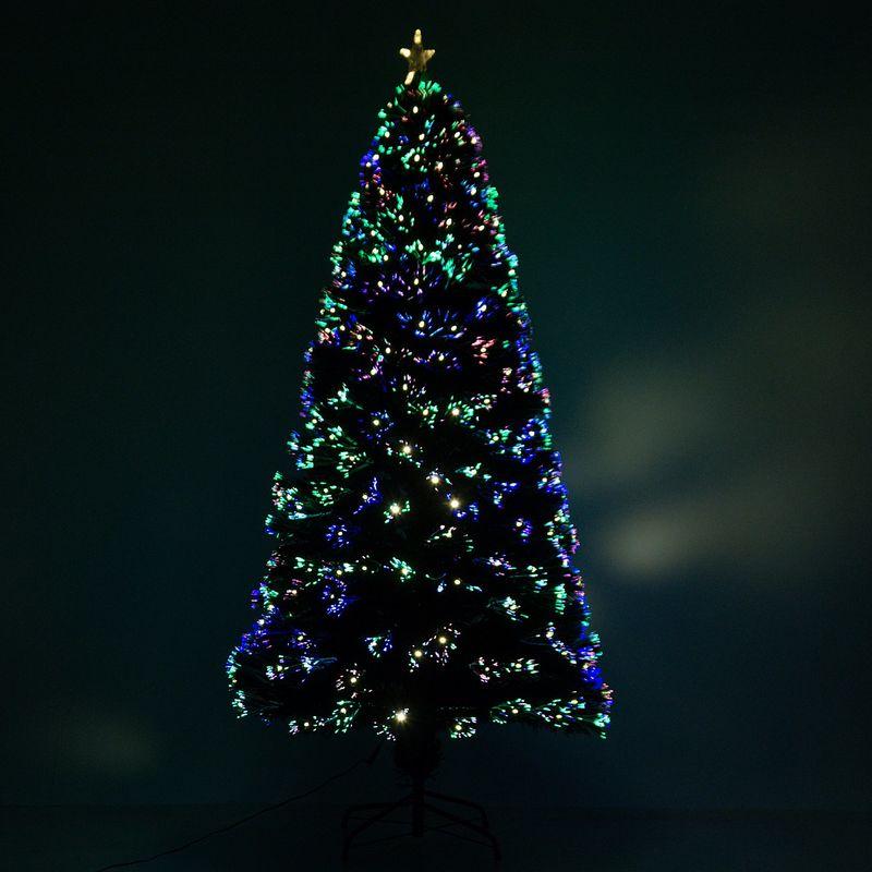 Tannenbaum Led.Homcom Weihnachtsbaum 180 Cm Tannenbaum Led Lichtfaser 8 Lichtmodi
