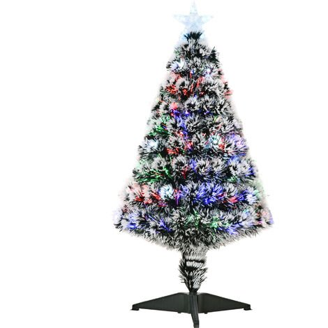 """main image of """"Homcom White Artificial Christmas Colourful Scattered LED Light Tree w/ Snow Side PET"""""""