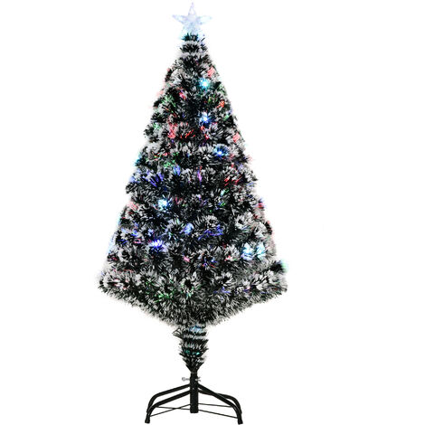 Homcom White Artificial Christmas Colourful Scattered LED Light Tree w/ Snow Side PET