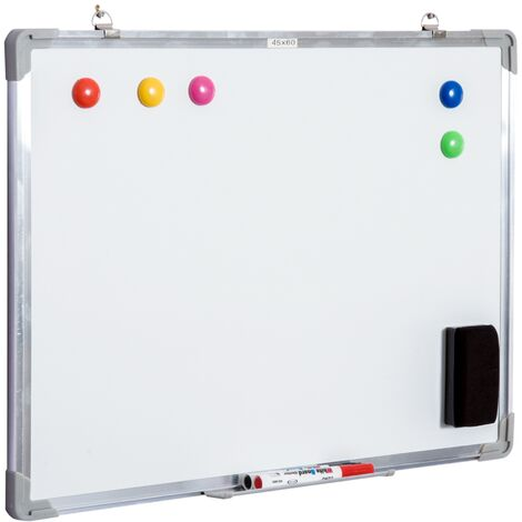 HOMCOM® Whiteboard Magnettafel mit Alurahmen inkl. Zubehör 60x45 cm