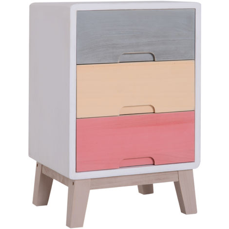 HOMCOM Wood 3 Drawers Chest Storage Stand Colourful Cabinet Bedside Table