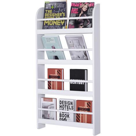 HOMCOM Wood Blend 4-Tier Wall Hanging Bookshelf Magazine Papers Rack White