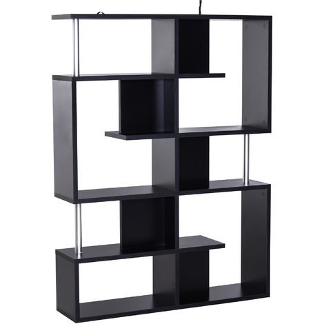 HOMCOM Wood Bookcase 5 Tier Shelves S Shape Bookshelf Free Standing -Black
