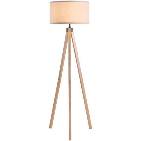 HOMCOM Wood Tripod Floor Lamp Home Lighting Elegant E27 Bulb Linen Shade Beige