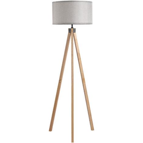 HOMCOM Wood Tripod Floor Lamp Home Lighting Elegant E27 Bulb Linen Shade Grey