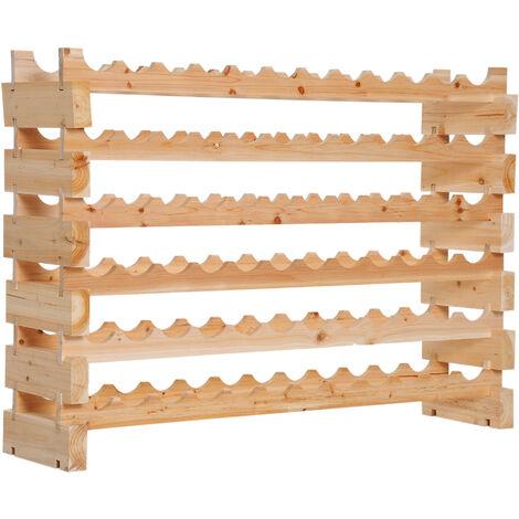 Homcom Wooden 6 Tier Shelf Wine Rack for 72 Bottles Storage Holder