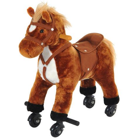 HOMCOM Wooden Action Pony Wheeled Walking Horse Riding Little Baby Plush Toy Wooden Style Ride on Animal Kids Gift w/ Sound (Brown)