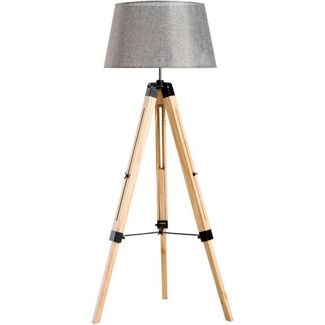 "main image of ""Homcom Wooden Adjustable Tripod Floor Lamp Modern bulb Compatible"""