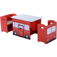 HOMCOM Wooden B 3PC Kids Table and Chairs Set Mutifunctional Bench Seat Bus - Red